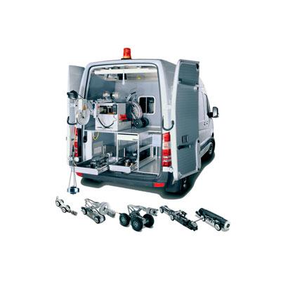 Tecsan Inspección de tuberías y pozos Configuraciones Configuración en furgón Unidad movil para inspeccion de tuberias Configuración en furgón