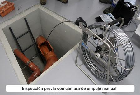 Inspección con cámara de empuje manual
